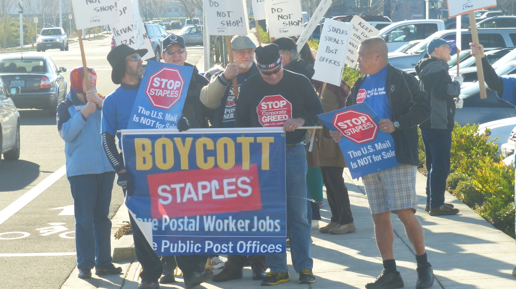 Protesters storm Staples store