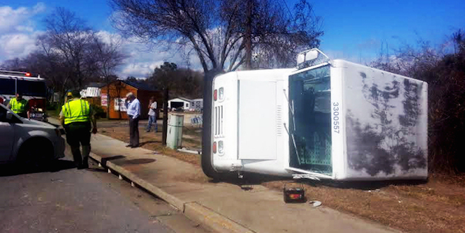 Mail truck overturns after being rear-ended in South Carolina