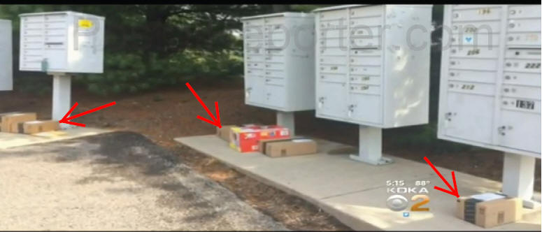 video amazon prime packages found lined up underneath cluster mailboxes angers residents. Black Bedroom Furniture Sets. Home Design Ideas