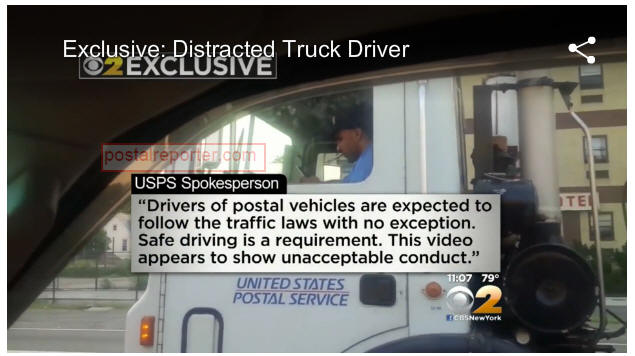 video man spots postal service driver texting while driving in rush hour traffic