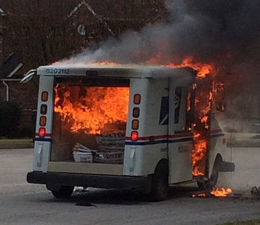 Video: Postal vehicle catches fire, mail destroyed in Tyler TX