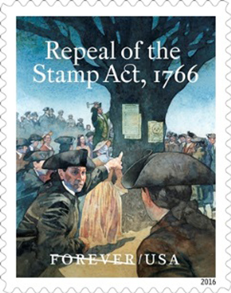 USPS dedicates forever stamp for Repeal of the Stamp Act 250th anniversary