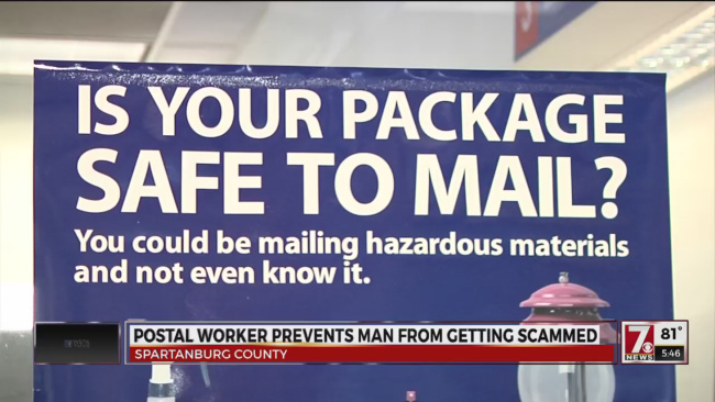 Video: Spartanburg SC postal worker saves man from getting scammed