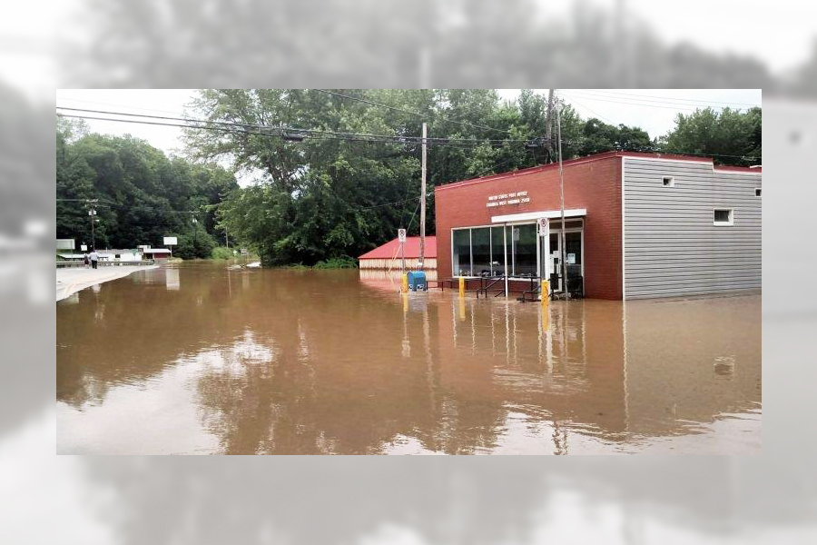 The Charmco, WV, Post Office was heavily flooded after recent storms.