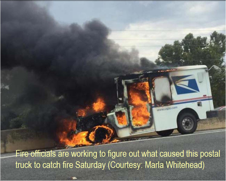 Photo: Postal Truck goes up in flames in Columbus, GA