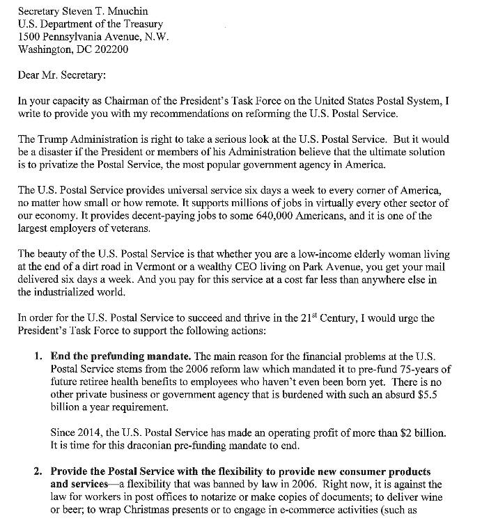 Senator Sanders Outlines Plan To Strengthen Postal Service Postalreporter Com