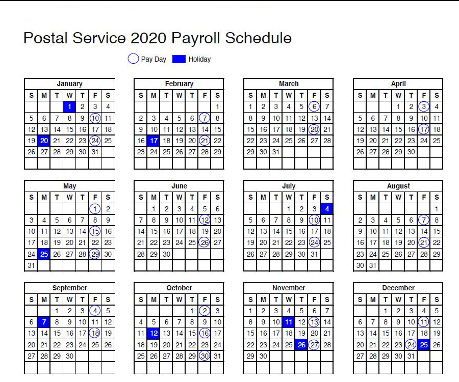 USPS Calendar: 2020 Payroll Schedule And Holidays